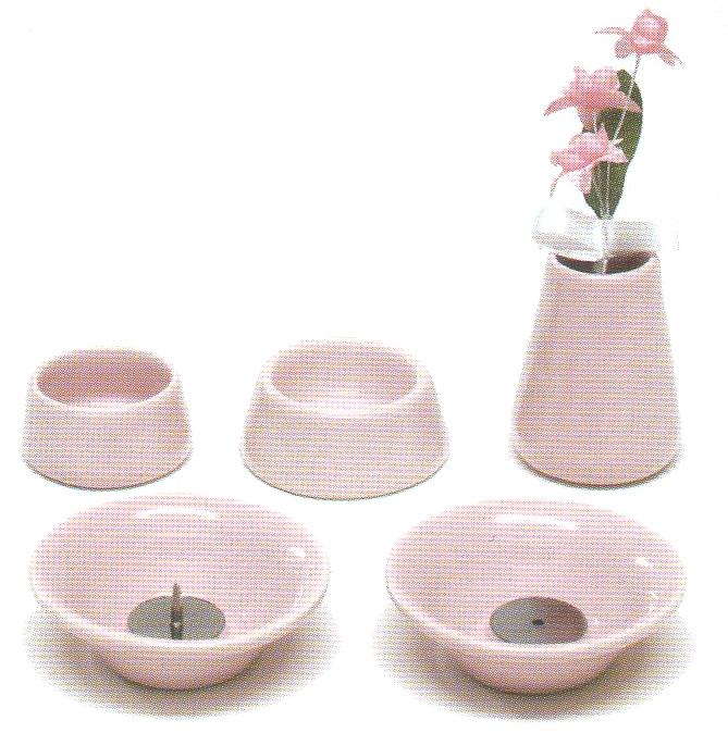 仏具8点セット陶器<br>(ピンク)