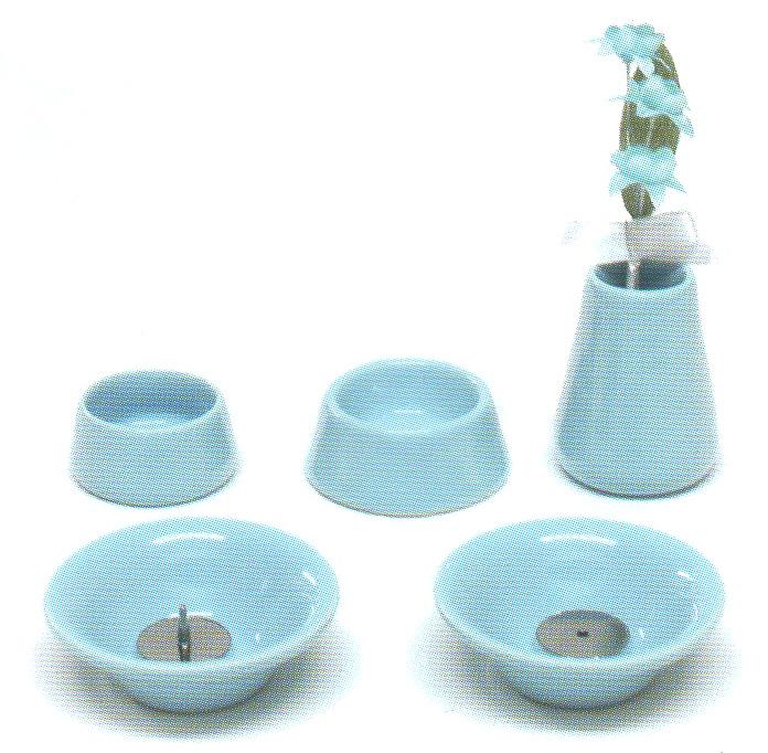 仏具8点セット陶器<br>(ブルー)
